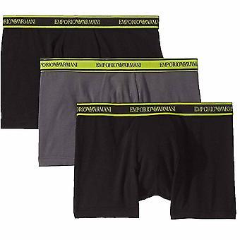 Emporio Armani Logo Stretch Cotton 3-Pack Boxer Brief, Black/Anthracite/Black, Small