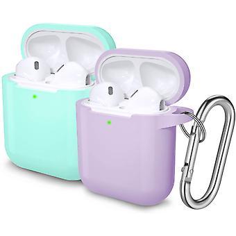 2Pcs cazuri de protecție cu Carabiner pentru Apple Airpods 2 & 1 (Mint Verde / Lavanda)