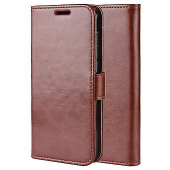 Stylish magnetic leather case for Redmi Note 9 5G - Brown