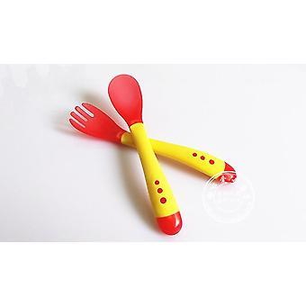 Comida de colher de mesa infantil para usar placa de serviço, temperatura do bebê dinnerware