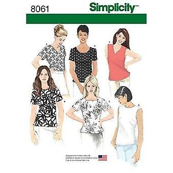 シンプルな縫製パターン8061ミストップス半袖ネックラインサイズ16-24 UC