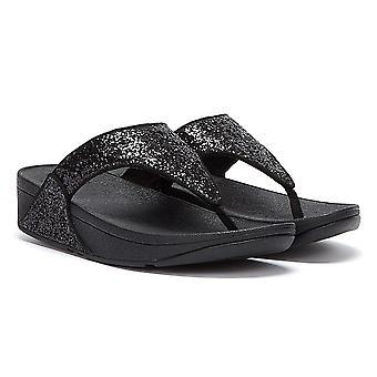FitFlop Lulu Glitter Womens Black Flip Flops