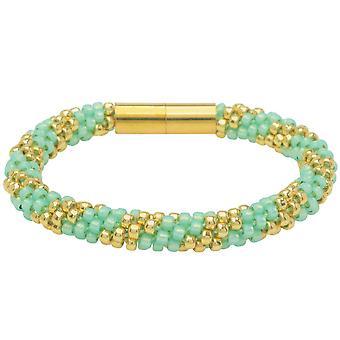 Pragtfulde Spiral Kumihimo armbånd i mynte og guld - Eksklusiv Beadaholique smykker Kit