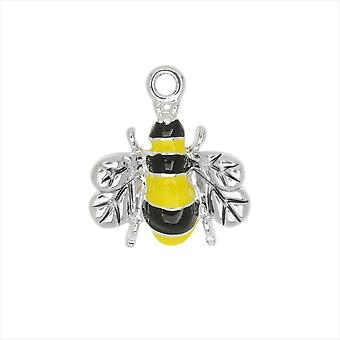 Jewelry Charm, Bee, 18mm, 1 Piece, Silver Plated / Enamel