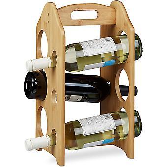 Wokex Weinregal aus Bambus, für 6 handelsübliche Flaschen, mit Griff, originelles Design,