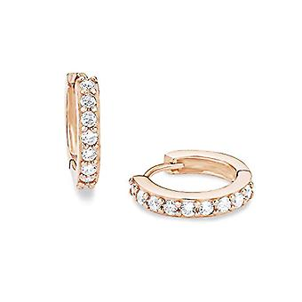 Amor, basic women's hoop earrings, 15 mm, sterling silver 925 rose gold plated, with white zircons