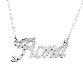 """L Fiona - 18 karaattinen valkoinen kullattu kaulakoru, muokattavissa nimi, säädettävä ketju 16""""- 19"""", Ref Packaging. 496330314279"""