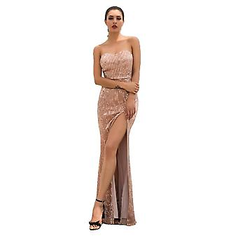 Champagne Tube Top Cut Out Fish Tail Shaped Elastic Sequin Material Long Dress