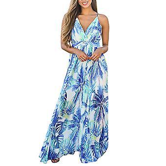 Women's Deep V-Neck Casual Dress for Beach Party (Blue)