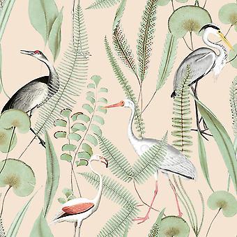Kivu Oiseaux Crème Papier peint