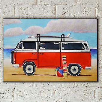 Orange husbil på stranden 8 x 12 kakel