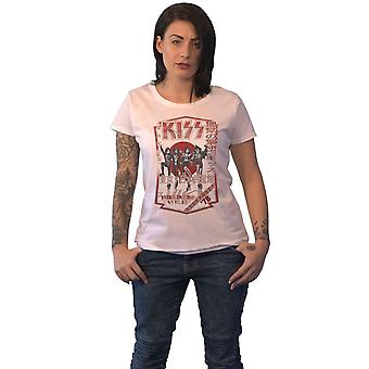 KISS T Shirt Destroyer Tour 78 Band Logo new Official Womens Skinny Fit White