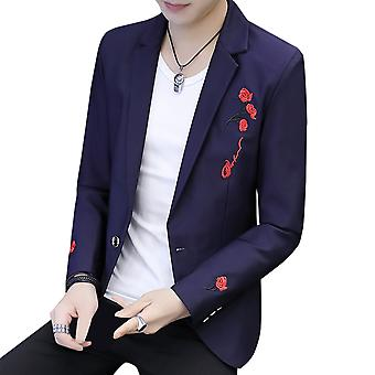 Yunyun Men's Flat Collar One Button Loose Fit Daily Business Blazer Suit Jacket