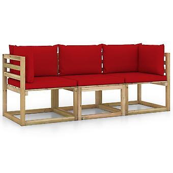 vidaXL 3-personers havesofa med rød pude