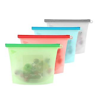 4Pcs Silicone Food Bag Reusable Silicone Food Bag  Ziplock Bag Leakproof For Freezer Preservation