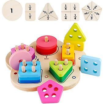 Geometrisches Sortierbrett aus Holz Formsortierer Puzzle Spielzeug Stapeln Lernen Geometrische
