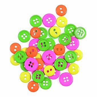 LAST FEW - 125 Mini Plastic Button Fournituren Ambachtelijke Versieringen - Neon Mix