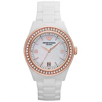 Emporio Armani AR1472 blanco Ceramica oro diamante bisel reloj