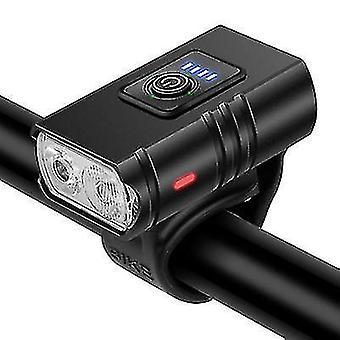 Передний фонарь велосипеда из алюминиевого сплава, USB-зарядка водонепроницаемой водонепроницаемой лампы безопасности для верховой езды