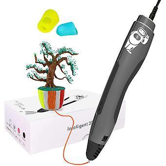 3D القلم الطباعة مع 2 لون 1.75mm PLA خيوط 3D الحرفية القلم عيد الميلاد لعب عيد الميلاد / هدايا للأطفال،(أسود)