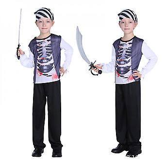 Children's Pirate Costume With Shoes, Hat And Belt For Boys And Girls Children's Clothing Pirates Of The Caribbean Captain Set-(b0173)