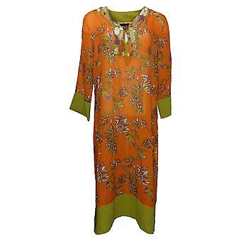 Rara Avis by Iris Apfel Dress Beaded & Embroidered Kimono Orange 656690