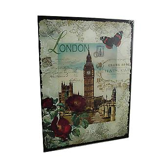 Dekorative London Big Ben Floral Glass veggen henger