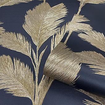 Alessia Leaf Gold Navy Wallpaper