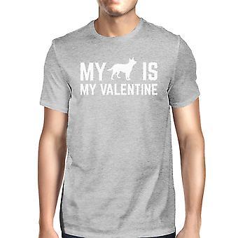 Mój pies mój Men Valentine Heather Grey T-shirt V-day kreatywne prezenty