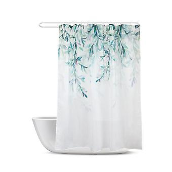 Suihkuverhot valkoinen kangas maalaistalo suihku verho vihreä trooppinen lehti kylpyhuone |shower verhot 80 * 180cm