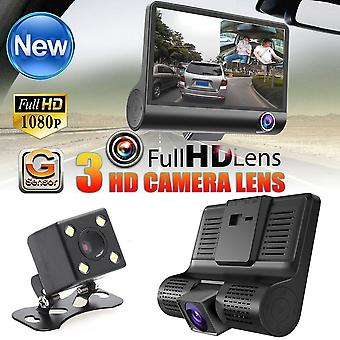 "4"" Hd 1080p 3 Lens Car Dvr Dash Cam G-sensor Recorder + Rearview Camera"