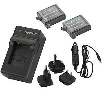 Dot.Foto GoPro AHDBT-401 - 3.8v / 1400mAh lithiumion batteri (2-Pack) og batteri rejse oplader