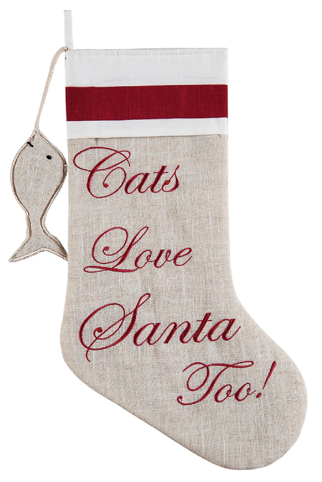 Cats Love Santa Too Embroidered Linen Look 20 Inch Christmas Holiday Stocking