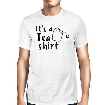 それは茶シャツ男性用半袖ラウンド ネック t シャツを白