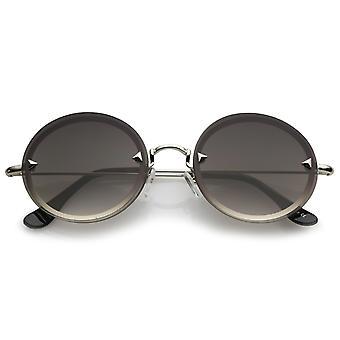 Pyramide métal lunettes sans Rivets Ultra bras minces lentille plate ronde lunettes de soleil 55mm