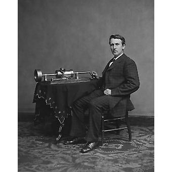 Thomas Edison with his second phonograph circa 1878 Poster Print by John ParrotStocktrek Images