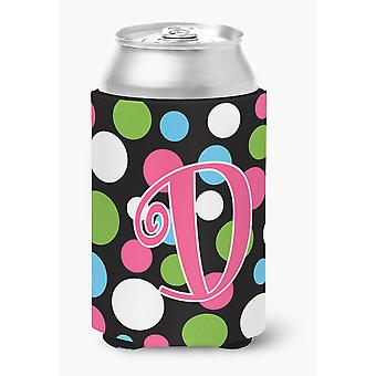 Letter D Initial Monogram - Polkadots and Pink Can or Bottle Beverage Insulator