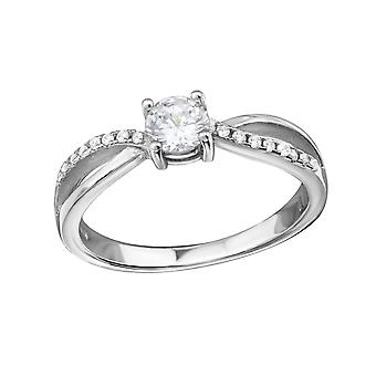 Round - Cubic Zirconia + 925 Sterling Silver Cubic Zirconia Rings - W34337X