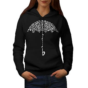 Umbrella Note Music Music Women BlackHoodie | Wellcoda
