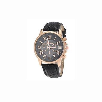 Ladies Geneva Black Dial Watch With PU Leather Strap VP-WAGENBLA1