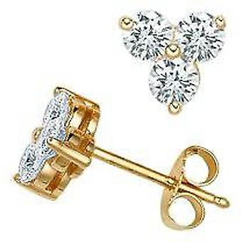 ستون ثلاثة 1 قيراط الماس أقراط ك 14 الذهب الأصفر