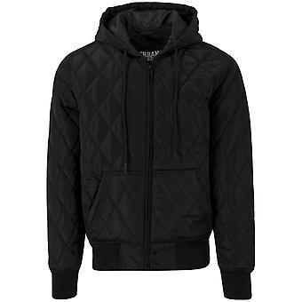 Urban classics - DIAMOND quilted Hoody Jacket black