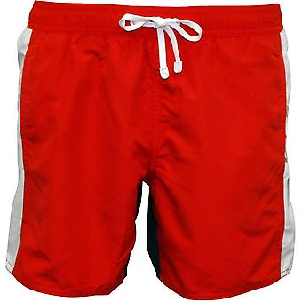 Emporio Armani EA7 Colour Block Swim Shorts, Red/Navy With White