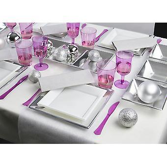 Party Geschirr Set für 8 Gäste 79-teilig Partypaket silber lila Partypaket