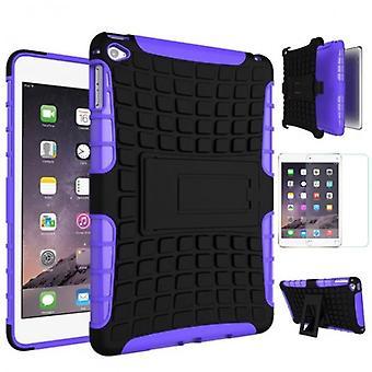 Hybride buiten beschermhoes paarse voor iPad Mini 4 Pocket + 0,3 H9 getemperd glas