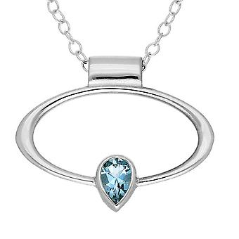 Sterling Silver Scottish March Birthstone Hand Crafted Necklace Pendant - Aquamarine Stone - CP303