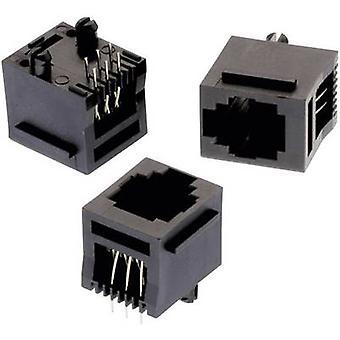 Modular Jack stehende ungeschirmte 6P6C mit Kabelschuh WR MJ Socket, senkrechte vertikale Anzahl der Pins: 6P6C schwarz Würth Elektronik 615006138521 1 PC