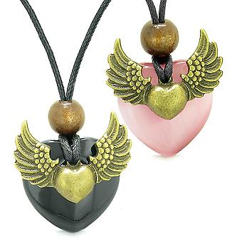 Engel Flügel liebe paar Beste Freunde Herz Yin Yang Amulett Achat Rosa simulierten Katzen Auge Halsketten