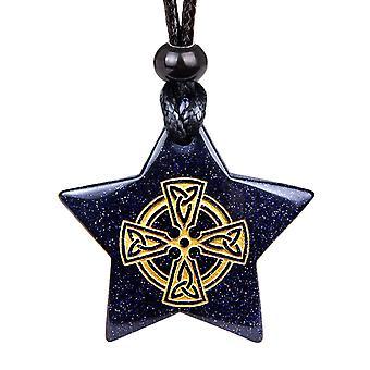 Collier pendentif magique Viking Super Star cercle croix celtique amulette Goldstone porte-bonheur
