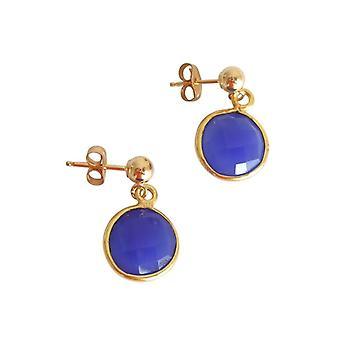 Gemshine - Boucles d'oreilles Pour Femmes - 925 Argent - Plaqué Or - Onyx - Bleu - CANDY